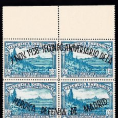 Sellos: 1938 II ANIVERSARIO DEFENSA DE MADRID. BLOQUE 8 SELLOS. SOBREIMPRESIÓN. EDIFIL Nº 757. Lote 45926511