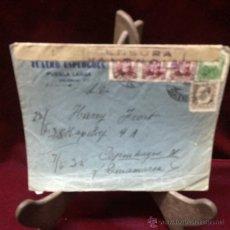 Selos: CARTA TRICOLOR - PUEBLA LARGA (VALENCIA) A COPENHAGUE-1938. Lote 46591847