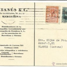 Sellos: TARJETA CIRCULADA MECANOESCRITA 1934 DE BARCELONA A BLANES GERONA CON SELLO LOCAL. Lote 46679152