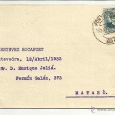 Sellos - tarjeta circulada y mecanoescrita 1933 de pontevedra a mataro barcelona - 46707714