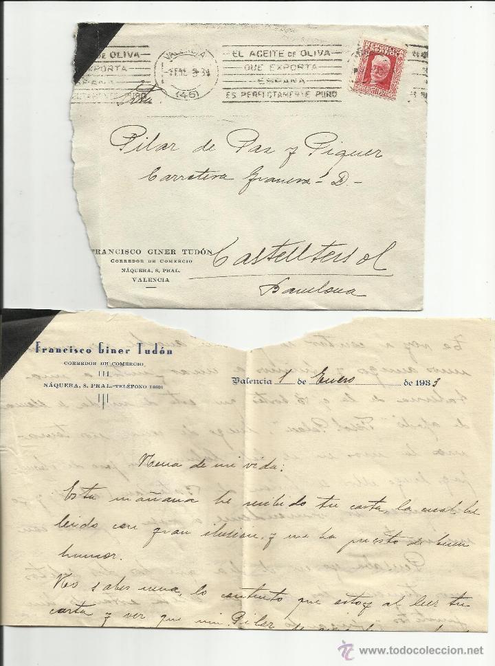 CIRCULADA 1933 DE VALENCIA A CASTELLTERSOL BARCELONA Y MATASELLO RODILLO ACEITE DE OLIVA (Sellos - España - II República de 1.931 a 1.939 - Cartas)
