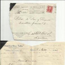 Timbres: CIRCULADA 1933 DE VALENCIA A CASTELLTERSOL BARCELONA Y MATASELLO RODILLO ACEITE DE OLIVA. Lote 46710500