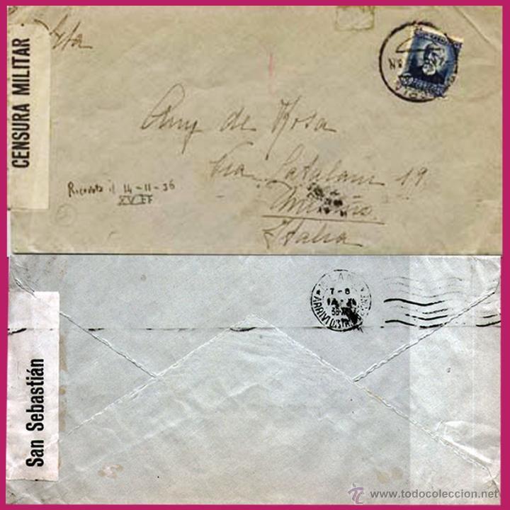 1936.- CARTA CON FECH. DE VITORIA CIRCULADA A MILANO + ETIQUETA CENSURA SAN SEBASTIAN. REV. RODILLO. (Sellos - España - II República de 1.931 a 1.939 - Cartas)