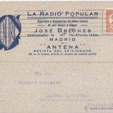 Sellos - TARJETA DE LA RADIO POPULAR. MADRID. A VALLADOLID. 1933. IMPRESOS. 2 CTS. - 47213589