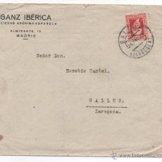 Sellos: CARTA PUBLICITARIA, MATASELLO GALLUR 1933, ZARAGOZA.. Lote 48339999