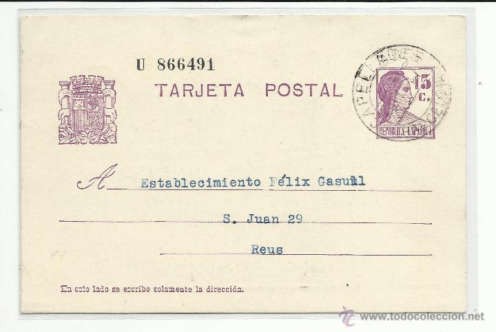 ENTERO POSTAL MECANOESCRITO 1937 DE CAPELLADES BARCELONA A REUS TARRAGONA EDIFIL 69 (Sellos - España - II República de 1.931 a 1.939 - Cartas)