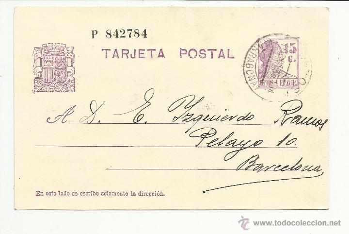 ENTERO POSTAL MANOESCRITO 1936 DE TORTOSA TARRAGONA A BARCELONA EDIFIL 69 (Sellos - España - II República de 1.931 a 1.939 - Cartas)