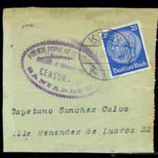 Sellos: ** FRAGMENTO CARTA 1937 ALEMANIA A SANTANDER CON CENSURA FRENTE POPULAR DE IZQUIERDAS (SANTANDER) **. Lote 48393781