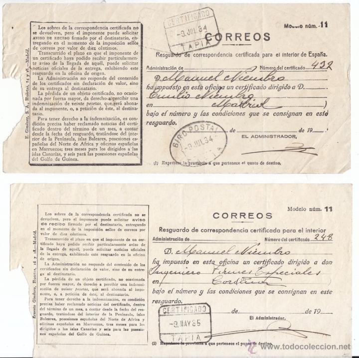 2 RESGUARDOS DE CERTIFICADO DE TAPIA. ASTURIAS. 1934 Y 1935. UNO GIRO POSTAL. (Sellos - España - II República de 1.931 a 1.939 - Cartas)
