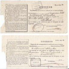 Timbres: 2 RESGUARDOS DE CERTIFICADO DE TAPIA. ASTURIAS. 1934 Y 1935. UNO GIRO POSTAL.. Lote 48569103