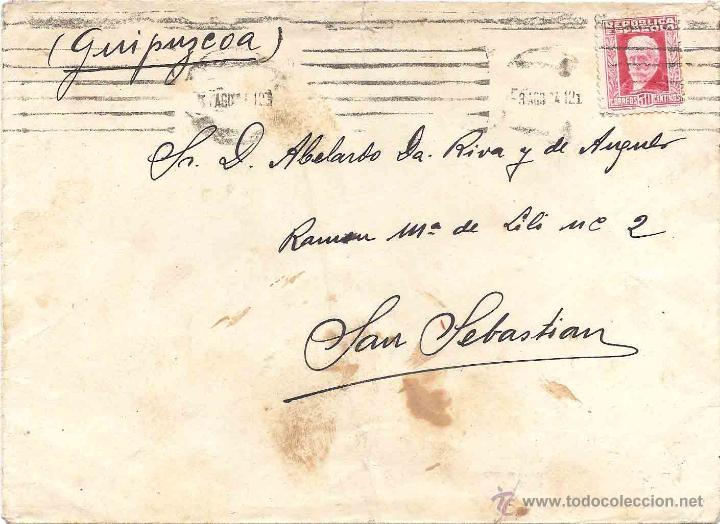 SOBRE. 3 DE AGOSTO DE 1934? SELLO REPÚBLICA ESPAÑOLA. (Sellos - España - II República de 1.931 a 1.939 - Cartas)