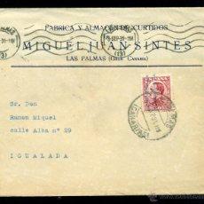 Sellos: * BONITA CARTA REPÚBLICA 1931 LAS PALMAS (CANARIAS)-IGUALADA, EDIFIL 599 FECHADOR Y RODILLO LUJO *. Lote 49991166