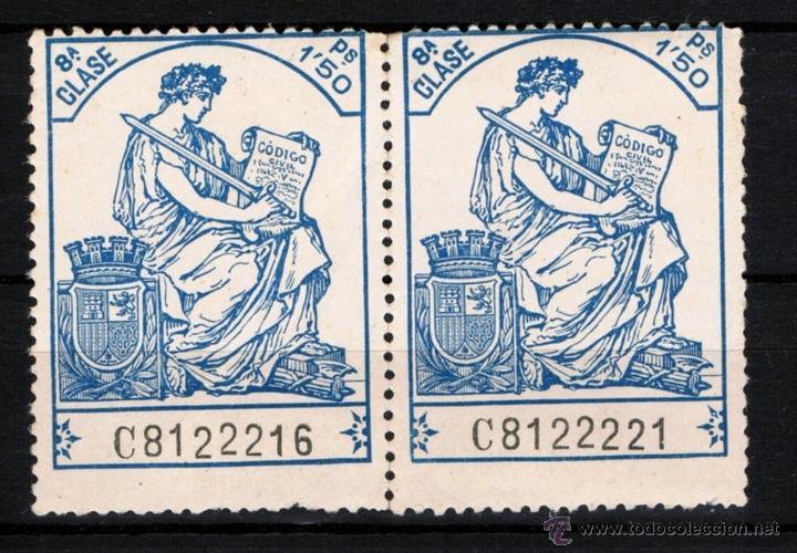2 POLIZAS CLASE 8ª DE 1,50 PS. (Sellos - España - II República de 1.931 a 1.939 - Nuevos)