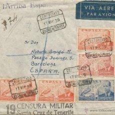 Sellos: 1939 - SOBRE CERTIFICADO DE STA. CRUZ DE TENERIFE DIRIGIDO A BARCELONA - ESPAÑA. Lote 50661293