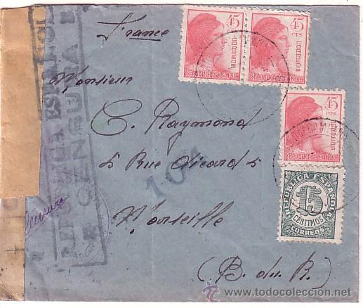 F6-38-CARTA GUERRA CIVIL CORREO CAMPAÑA SANITAT- DIVISIÓ 55 A FRANCIA 1938 (Sellos - España - II República de 1.931 a 1.939 - Cartas)