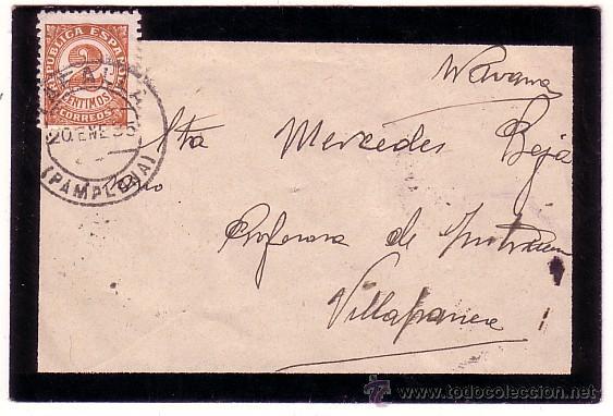 F11-41-SOBRE LUTO TAFALLA - VILLAFRANCA (NAVARRA) 1935 (Sellos - España - II República de 1.931 a 1.939 - Cartas)