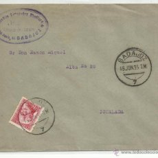Sellos: CIRCULADA 1935 DE BADAJOZ A IGUALADA BARCELONA CON FECHADOR DE LLEGADA. Lote 50943318