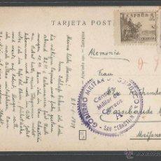 Sellos: GOBIERNO MILITAR DE GUIPÚZCOA- CENSURA MILITAR DE CORREOS 1939 - P11602. Lote 51463703