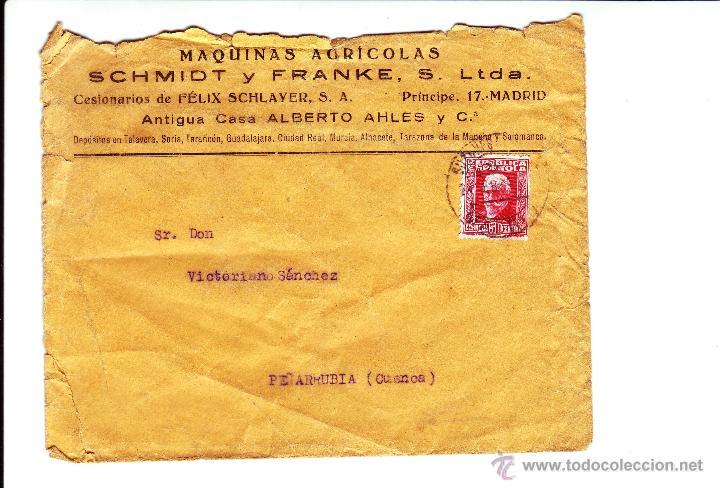 MAQUINAS AGRICOLAS SCHMIDT Y FRANKE - MADRID - AÑO 1932 (Sellos - España - II República de 1.931 a 1.939 - Cartas)