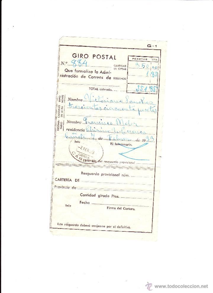 GIRO POSTAL - AÑO 1933 - CAÑETE (CUENCA) (Sellos - España - II República de 1.931 a 1.939 - Cartas)