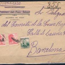 Timbres: 1938.- VILLANUEVA DEL DUQUE (CÓRDOBA) A BARCELONA. Lote 51930836