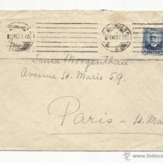 Sellos: CIRCULADA 1937 DE BARCELONA A PARIS. Lote 51963490