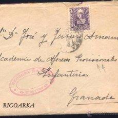 Sellos: ESPAÑA 858- 1938.- CARTA DIRIGIDA A LA ACADEMIA DE ALFERECES PROVISIONALES CON MARCA CENSURA GUECHO. Lote 52287783