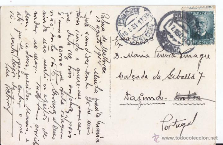 POSTAL DE PALMA DE MALLORCA A PORTUGAL. 1934. SELLO ESPAÑOL CON MATASELLOS PORTUGUÉS. BALEARES (Sellos - España - II República de 1.931 a 1.939 - Cartas)