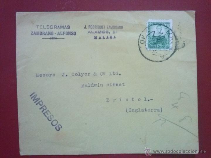 SOBRE ENVIADO DESDE MÁLAGA A BRISTOL, 7 MARZO 1935, CON EDIFIL 682 (Sellos - España - II República de 1.931 a 1.939 - Cartas)
