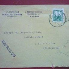 Sellos: SOBRE ENVIADO DESDE MÁLAGA A BRISTOL, 7 MARZO 1935, CON EDIFIL 682. Lote 52779591