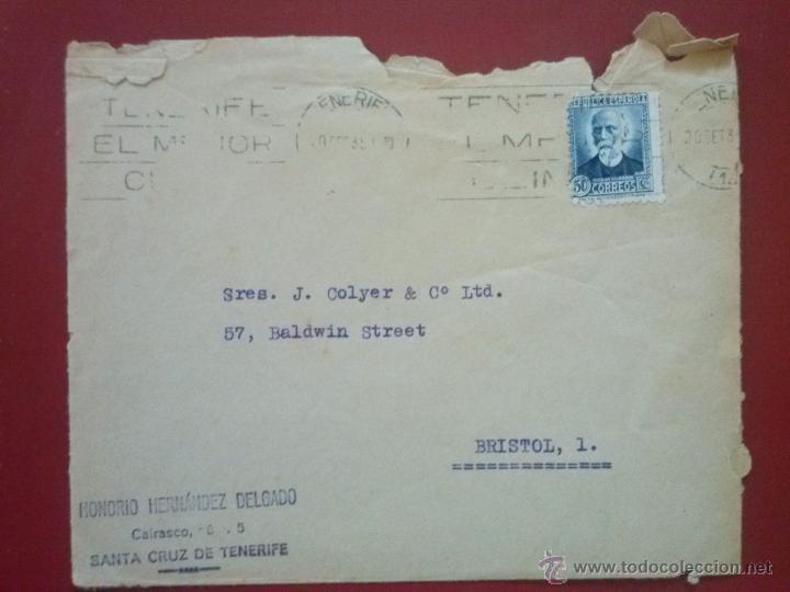 SOBRE CON MATASELLOS: TENERIFE EL MEJOR CLIMA , FRANQUEO: EDIFIL 688 (Sellos - España - II República de 1.931 a 1.939 - Cartas)