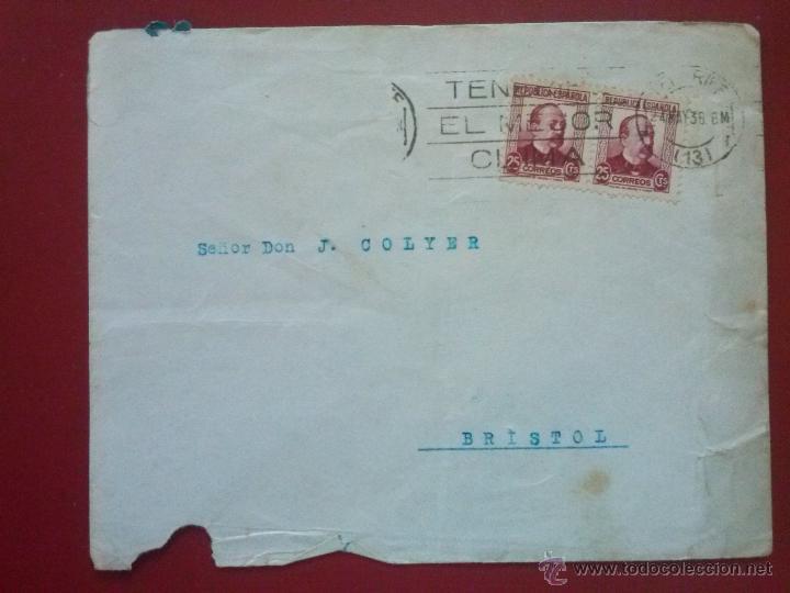 SOBRE CON MATASELLOS: TENERIFE EL MEJOR CLIMA, 24 MAYO 1936 , FRANQUEO: EDIFIL 685 X2 (Sellos - España - II República de 1.931 a 1.939 - Cartas)