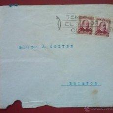Sellos: SOBRE CON MATASELLOS: TENERIFE EL MEJOR CLIMA, 24 MAYO 1936 , FRANQUEO: EDIFIL 685 X2. Lote 52779865