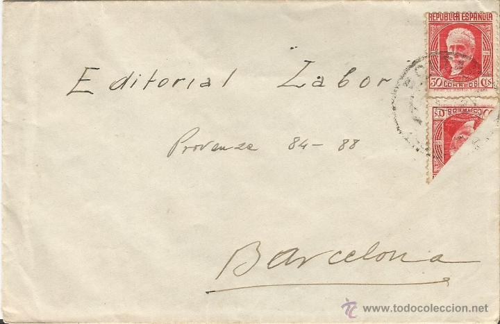 ESPAÑA - REPUBLICA HISTORIA POSTAL. 1936 - 1938 CARTA DIRIGIDA DE HUESCA A BARCELONA (Sellos - España - II República de 1.931 a 1.939 - Cartas)