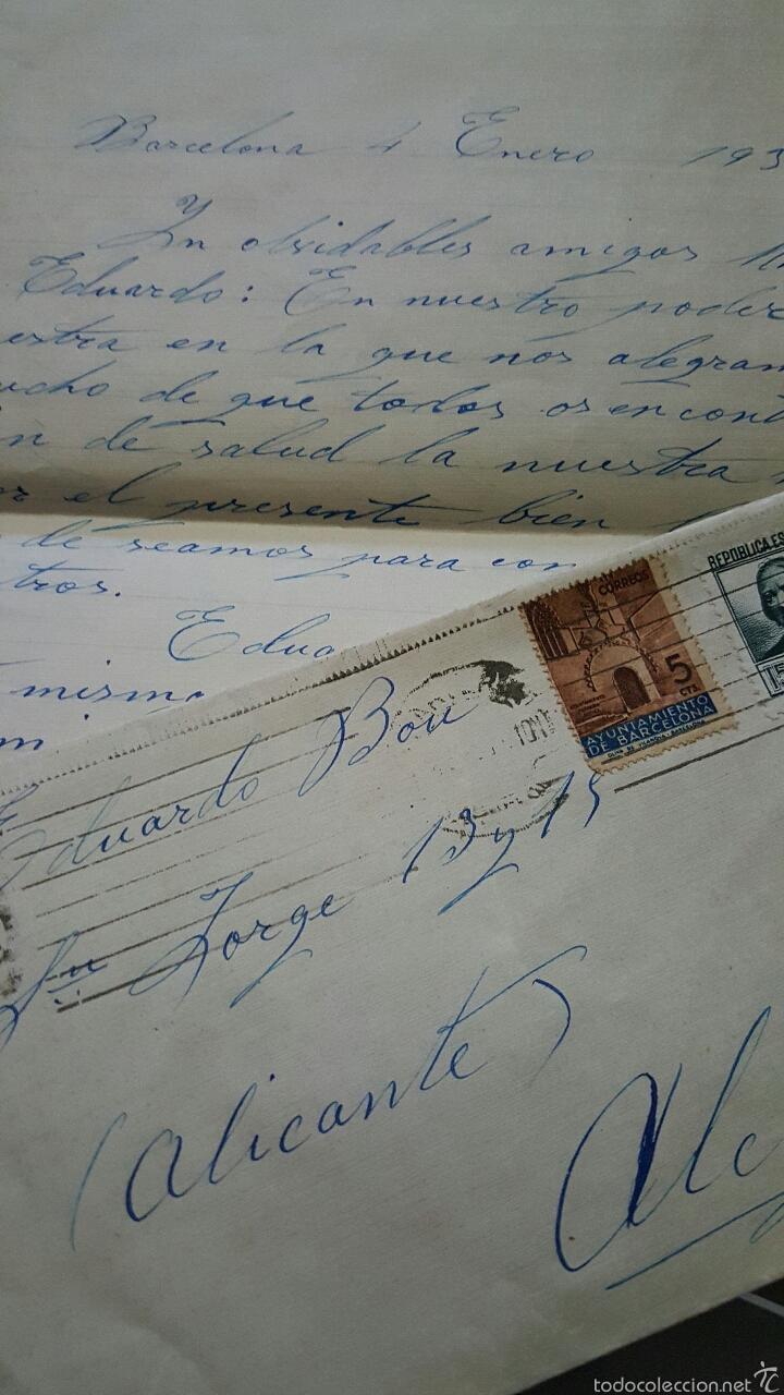 CARTA CIRCULADA, BARCELONA-ALCOY, 1937. SELLOS REPUBLICA Y AYUNTAMIENTO DE BARCELONA (Sellos - España - II República de 1.931 a 1.939 - Cartas)