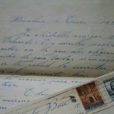 Sellos: CARTA CIRCULADA, BARCELONA-ALCOY, 1937. SELLOS REPUBLICA Y AYUNTAMIENTO DE BARCELONA. Lote 53498169