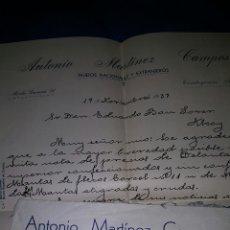 Sellos: ANTONIO MARTINEZ CAMPOS, TEJIDOS, TORREJIMENO, JAEN A ALOY, 1937, REPUBLICA. Lote 53504450