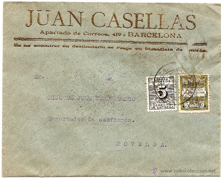 CARTA CIRCULADA JUAN CASELLAS (BARCELONA) CON DESTINO NOVELDA (ALICANTE) - AÑO 1931 (Sellos - España - II República de 1.931 a 1.939 - Cartas)