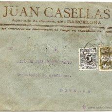 Sellos: CARTA CIRCULADA JUAN CASELLAS (BARCELONA) CON DESTINO NOVELDA (ALICANTE) - AÑO 1931. Lote 53705011