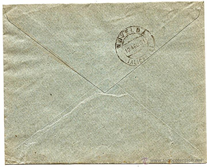 Sellos: CARTA CIRCULADA JUAN CASELLAS (BARCELONA) CON DESTINO NOVELDA (ALICANTE) - AÑO 1931 - Foto 2 - 53705011