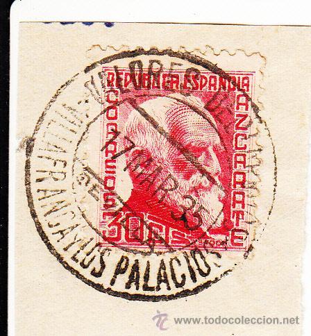 S/FRAGMENTO EDIFIL 686. MATº VALORES DECLARADOS VILLAFRANCA Y LOS PALACIOS(SEVILLA). 17 MAR 35 (Sellos - España - II República de 1.931 a 1.939 - Usados)