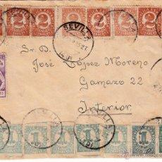 Sellos: FRENTE DE CARTA CON EDIF 677(9), 678 (8), 663 Y SEVILLA LUCHA CONTRA LA TUBERCULOSIS MATº SEVILLA. Lote 53832923
