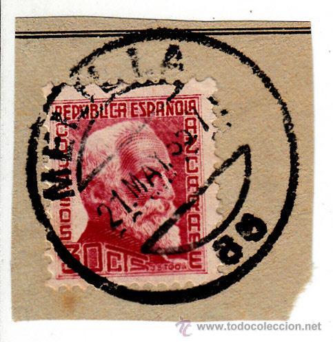 S/FRAGMENTO EDIFIL 686. MATº MELILLA. 21 MAY. 35. (Sellos - España - II República de 1.931 a 1.939 - Usados)