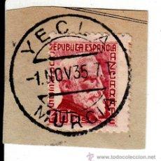 Sellos: S/FRAGMENTO EDIFIL 686. MATº YECLA (MURCIA). 1 NOV. 35. Lote 53954648