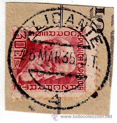 S/FRAGMENTO EDIFIL 686. MATº ALICANTE. 25 MAR. 35 (Sellos - España - II República de 1.931 a 1.939 - Usados)