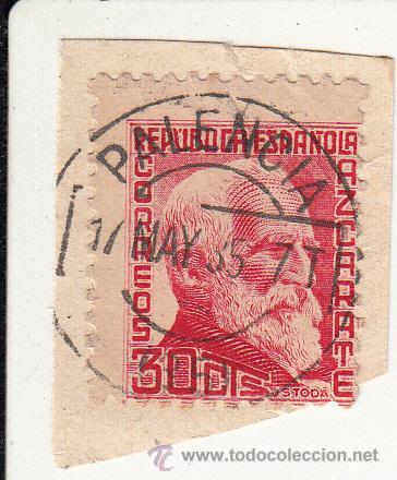S/FRAGMENTO EDIFIL 686. MATº RODILLO PALENCIA. 17 MAY. 35 (Sellos - España - II República de 1.931 a 1.939 - Usados)