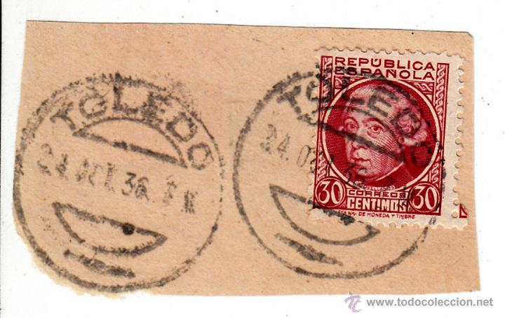 S/FRAGMENTO EDIFIL 687. MATº TOLEDO. 24 OCT 36 (Sellos - España - II República de 1.931 a 1.939 - Usados)