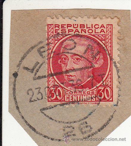 S/FRAGMENTO EDIFIL 687. MATº LEON.. 23 OCT. 36. (Sellos - España - II República de 1.931 a 1.939 - Usados)