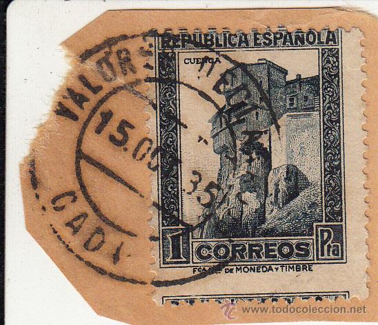 S/FRAGMENTO. EDIFIL 673. MATº VALORES DECLARADOS. CADIZ. 15 OCT. 35 (Sellos - España - II República de 1.931 a 1.939 - Usados)