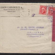 Sellos: CARTA MEMB UNIO CARBUROS S . A. MAT RODILLO BARCELONA 1937 / DINAMARCA . CENSURA REPÚBLICA ESPAÑOLA. Lote 53962190